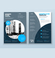 flyer template layout design blue and grey vector image