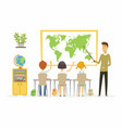 geography lesson at school - modern cartoon people vector image vector image