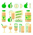 green apple and fresh juice flat elements vector image vector image