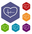 Heartbeat rhombus icons vector image vector image
