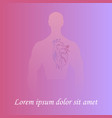 human heart in man silhouette vector image vector image