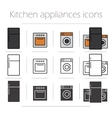 Kitchen appliances icons set vector image vector image