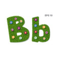 letter bb with a texture of grass and flowers vector image
