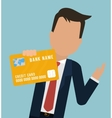 man business bank card hold vector image