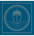 Marine emblem with cruise ship vector image