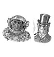 monkey astronaut and gentleman with a cigar vector image vector image