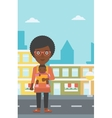 Mother carrying her son in sling vector image vector image