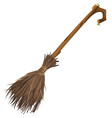old magic broom on which witch flies vector image