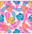 pattern with color palm leaves vector image vector image