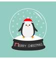 Penguin in red santa hat Cute cartoon character vector image vector image