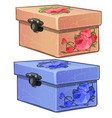 pink and blue cardboard box with flower decoration vector image vector image