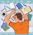 pop art exhausted male student sleeping on desk vector image