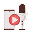 radio microphone retro with smartphone and play vector image vector image