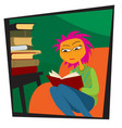 reading books life in quarantine vector image vector image