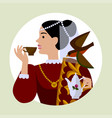 round icon with a woman in retro dress with a vector image vector image