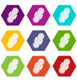 sanitary napkin icon set color hexahedron vector image vector image