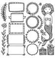 set black doodle frames and elements vector image vector image