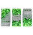 set of banners with clovers and sequins vector image vector image