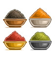 set of spices in bowls vector image vector image