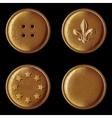 set vintage bronze buttons vector image