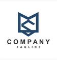 simple ms sm initials company logo vector image vector image