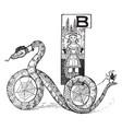 snake bike vintage vector image vector image