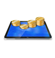 Tablet pc with golden coin vector image vector image