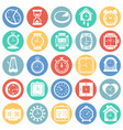 time icons set on color circles background for vector image vector image