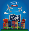 time to travel around the world vector image vector image