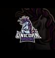 unicorn mascot sport logo design vector image vector image
