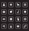 white flat icon set 7 with rounded rectangle frame vector image