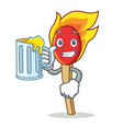 with juice match stick mascot cartoon vector image vector image