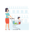 young woman choosing products with her son sitting vector image