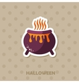 Witch cauldron icon Halloween sticker vector image