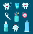 funny characters cartoon teeth with vector image
