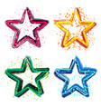 set of grunge colorful stars vector image
