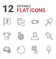 12 pin icons vector image vector image