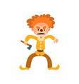 angry red haired clown cartoon character vector image vector image