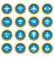 aviation icons blue circle set vector image vector image