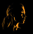 beauty woman face silhouette in contrast backlight vector image
