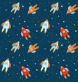 cartoon rockets in cosmos seamless pattern vector image vector image