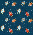 cartoon rockets in cosmos seamless pattern vector image vector image