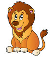 cartoon sitting lion vector image vector image