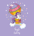 cartoon unicorn hot air vector image