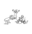 child learn bike with parent cartoon vector image vector image