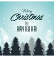 christmas card and new year pines and clouds vector image vector image
