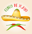 cinco de mayo poster with sombrero and hot pepper vector image