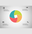 circle divided to four parts filled color vector image vector image