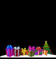 colourful gift boxes on white snow and black vector image