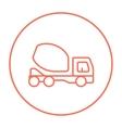 Concrete mixer truck line icon vector image vector image